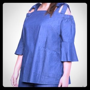 Denim eloquii cold shoulder top